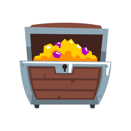 Opened wooden treasure chest vector Illustration isolated on a white background.