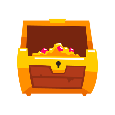 Opened antique treasure chest vector Illustration isolated on a white background.