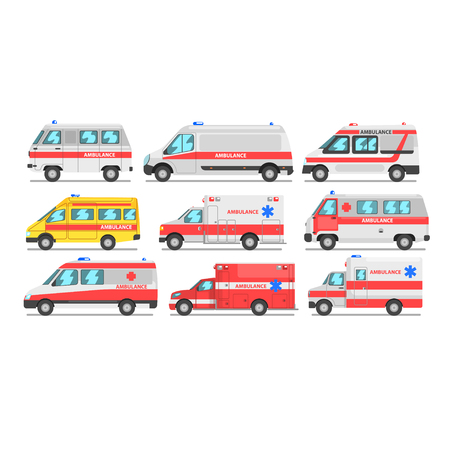 Collection of ambulance service cars, emergency medical van vector Illustration isolated on a white background. Illustration