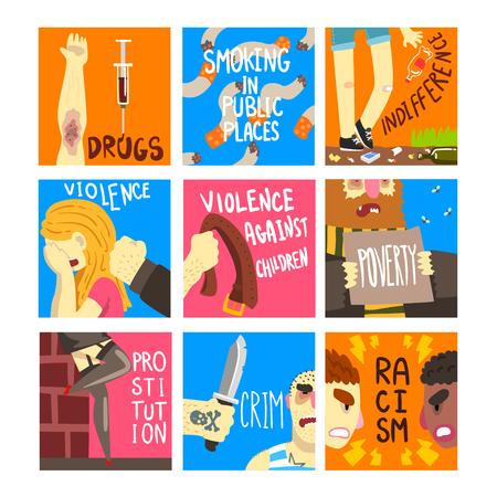 Conjunto de problemas sociales, plantillas de banner sobre indiferencia, drogas, fumar en lugares públicos, violencia, racismo, ilustraciones vectoriales de pobreza, diseño web Ilustración de vector