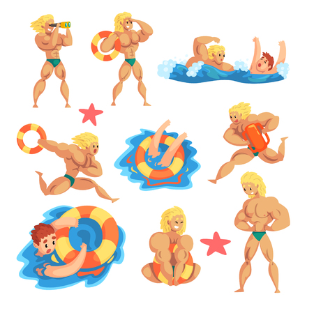 Male lifeguard saving drowning people set, muscular professional rescuer on duty vector Illustration isolated on a white background. Illustration