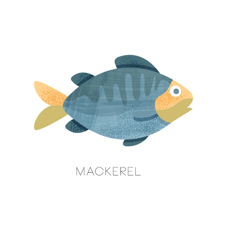 Illustration of blue mackerel. Predatory fish. Marine animal. Seafood theme. Decorative graphic element for cafe or restaurant menu. Colorful flat vector icon with texture isolated on white background