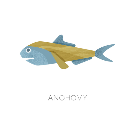 Illustration of small anchovy, side view. Sea fish. Marine creature. Ocean life theme. Colorful graphic element for restaurant or cafe menu. Flat vector icon with texture isolated on white background.