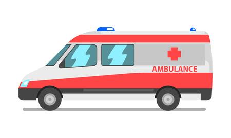 Ambulance van, emergency medical service vehicle vector Illustration isolated on a white background. 일러스트