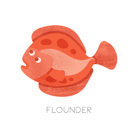 Icon of bright red flounder with texture. Small flatfish. Sea creature. Marine animal. Sea and ocean life theme. Colorful illustration with texture. Flat vector design isolated on white background.