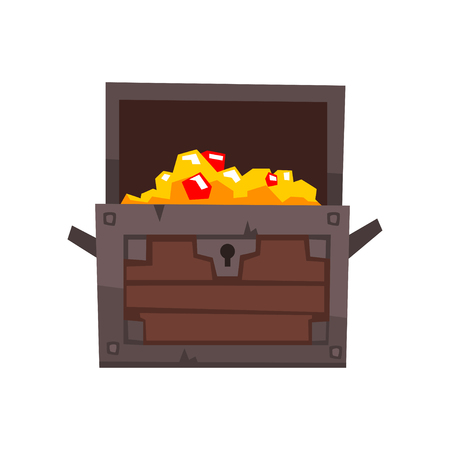 Opened antique chest full of golden coins and jewels vector Illustration isolated on a white background.