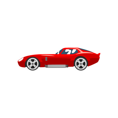 Sports racing car, red supercar, side view vector Illustration isolated on a white background.