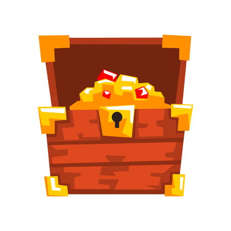 Opened wooden chest with treasures full of golden coins and jewels vector Illustration isolated on a white background.