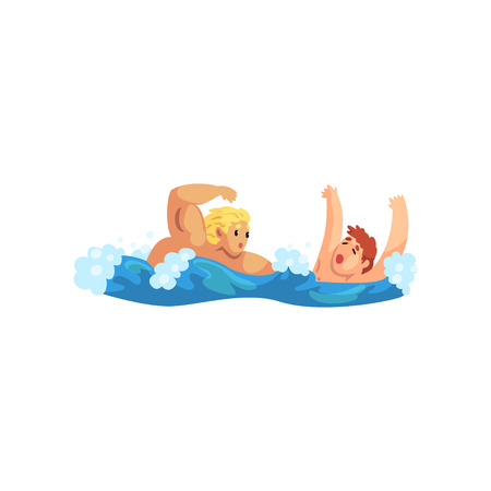 Male lifeguard saving a drowning man, professional rescuer on duty vector Illustration isolated on a white background.