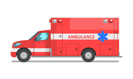 Red ambulance car, emergency medical service vehicle vector Illustration isolated on a white background.