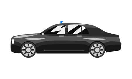 Black classic executive sedan with blue flasher siren, business luxury vehicle side view vector Illustration isolated on a white background.