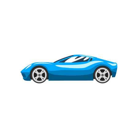 Blue sports racing car, supercar, side view vector Illustration isolated on a white background.