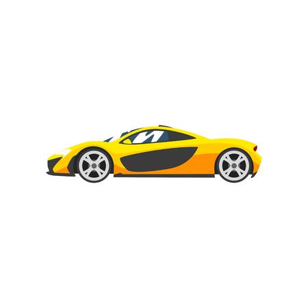 Auto da corsa sportiva gialla, supercar, vettore di vista laterale illustrazione isolato su sfondo bianco.
