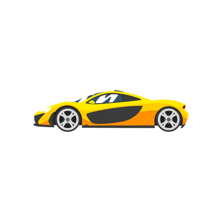 Gelber Sportrennwagen, Supersportwagen, Seitenansichtvektorillustration lokalisiert auf einem weißen Hintergrund.