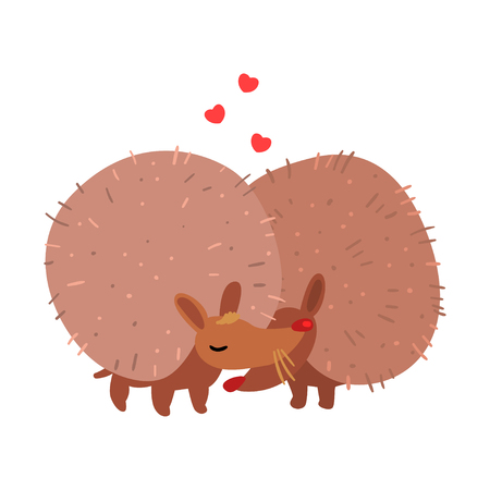 Couple of cute hedgehogs in love embracing each other, two happy aniimals hugging vector Illustration isolated on a white background.