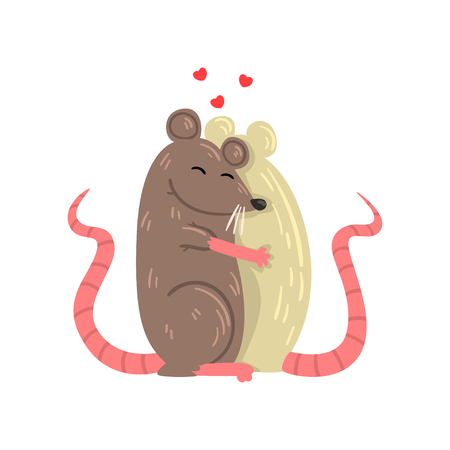 Couple of mice in love embracing each other, two happy aniimals hugging vector Illustration isolated on a white background. Çizim