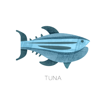 Icon of blue tuna fish. Marine creature. Sea animal. Colorful graphic element for product packaging, advertising poster or flyer. Flat vector illustration with texture isolated on white background.