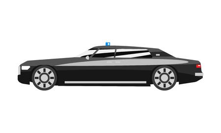 Sedán ejecutivo negro premium con sirena intermitente azul, vector de vista lateral de vehículo de lujo de negocios ilustración aislada sobre fondo blanco.