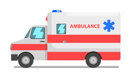 Emergency car, red and white ambulance medical service vehicle vector Illustration isolated on a white background.