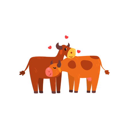 Couple of cows in love embracing each other, two happy domestic aniimals hugging vector Illustration isolated on a white background. Çizim