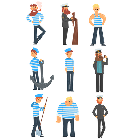Sailors and captains doing their job, seamen characters in uniform vector Illustration isolated on a white background. Vettoriali
