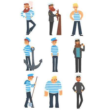 Zeelieden en kapiteins die hun werk doen, zeelieden tekens in uniform vector illustratie geïsoleerd op een witte achtergrond. Vector Illustratie