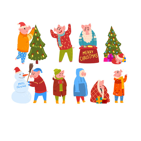 Cute funny pigs celebrating New Year set, piggy characters wearing warm bright clothes in different situations, Chinese symbol of New Year vector Illustration isolated on a white background.