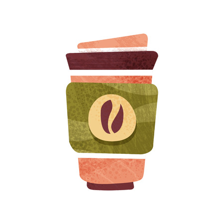 Fresh coffee in big plastic cup with lid. Hot beverage. Tasty drink. Graphic element for advertising poster, banner or flyer. Colorful flat vector design with texture isolated on white background. Ilustração