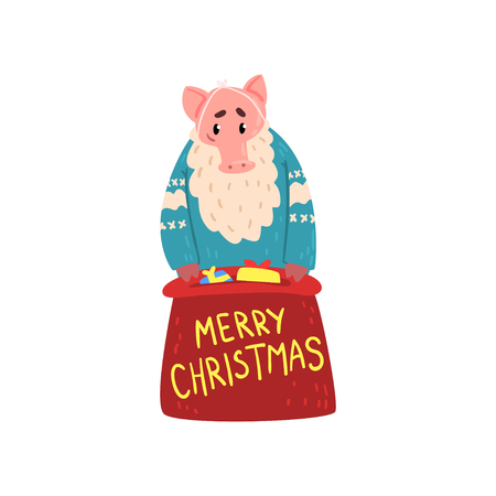 Bearded pig character dressed in warm bright clothes standing with red gift sack, Chinese symbol of New Year, design element for Christmas card, calendar, invitation vector Illustration
