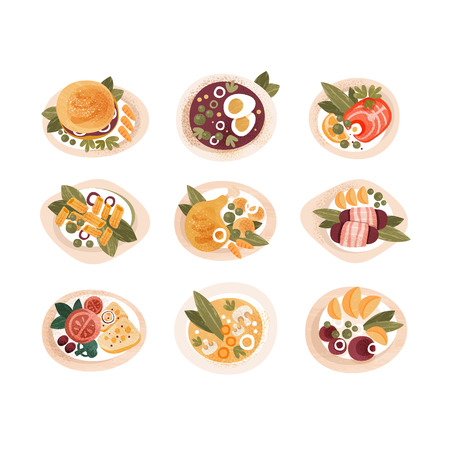 Classic dinner dishes set, dinner table top view vector Illustrations isolated on a white background. Ilustracje wektorowe