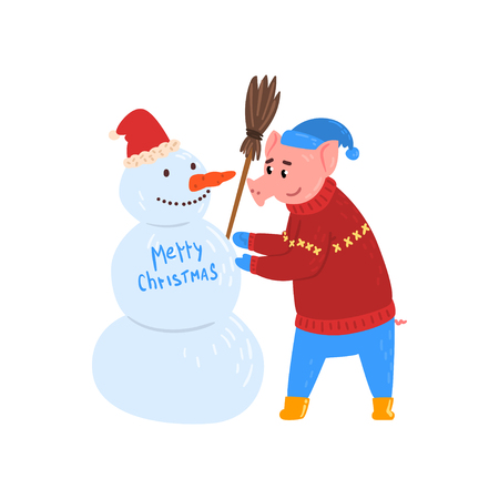 Cute pig character making snowman, piggy character dressed in warm bright clothes, Chinese symbol of New Year, design element for Christmas card, calendar, invitation vector Illustration isolated on a white background.