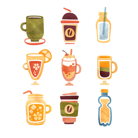 Non alcoholic drinks, tea, coffee, hot chocolate, latte, smoothie, juice, lemonade vector Illustrations isolated on a white background Illustration