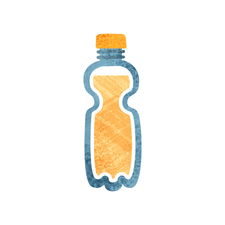 Small plastic bottle with fresh orange juice. Healthy drink. Transparent container with sweet beverage. Element for poster or banner. Icon with texture. Flat vector isolated on white background.