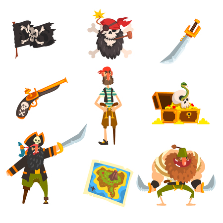 Pirates set, pirate adventures accessories, black flag with ckull and bones, sabre, treasure map, chest vector Illustration isolated on a white background. Illustration