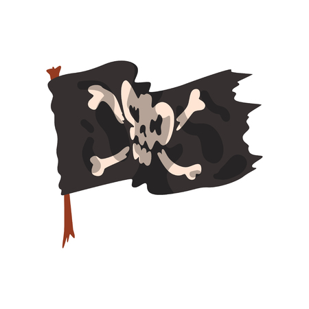 Black pirate flag with skull and bones vector Illustration isolated on a white background.