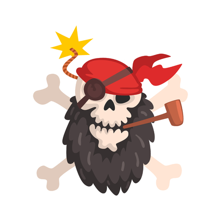 Pirate skull and crossbones, Jolly Roger wearing a bandana smoking pipe vector Illustration on a white background Illustration