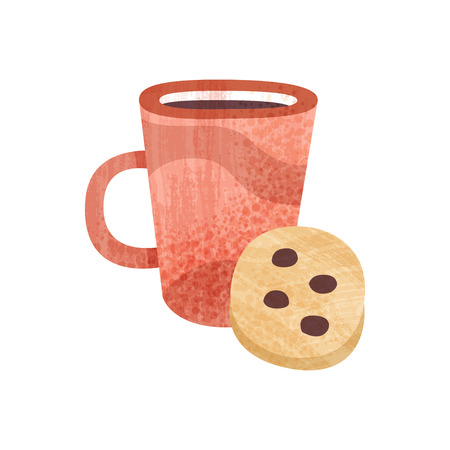 Red cup of tea and sweet cookie with chocolate chunks. Mug of fresh coffee. Tasty snack and beverage for breakfast. Food and drink theme. Element for poster. Isolated flat vector icon with texture.