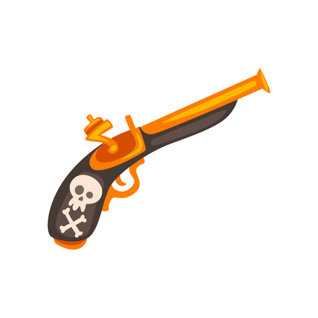 Old flintlock pistol, ancient weapon vector Illustration isolated on a white background. Çizim