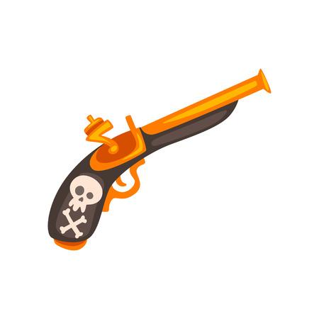 Pistola de chispa vieja, vector de arma antigua ilustración aislada sobre fondo blanco.
