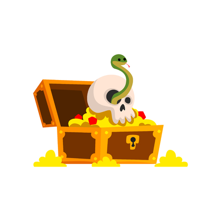 Old pirate treasure chest with golden coins and skull bone vector Illustration isolated on a white background. Foto de archivo - 109793805