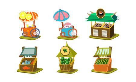 Set of small stalls with fresh fish, sushi, broccoli and watermelons, carts with ice-ream and cotton candy. Street business. Cartoon style icons. Flat vector illustrations isolated on white background Illustration