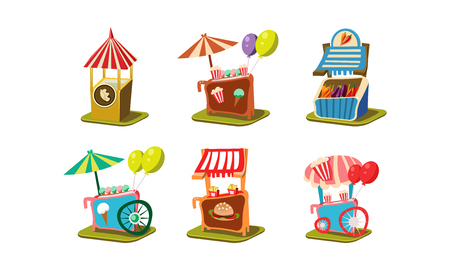Set of carts with ice-cream and popcorn, stalls with vegetables and burgers. Carnival food stands. Street business theme. Cartoon style icons. Colorful flat vector design isolated on white background. Illustration
