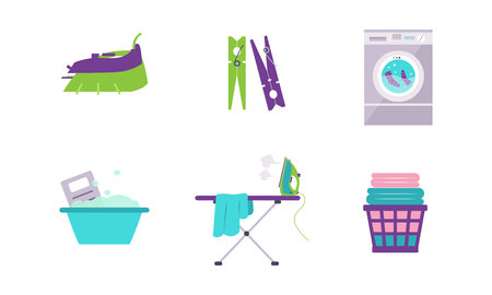 Laundry set, washing machine, basin, clothespin, iron, ironing board vector Illustration isolated on a white background. Vektorgrafik