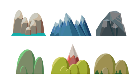 Collection of colorful hills and rocky mountains. Nature landscape elements of mobile game. Travel or mountaineering theme. Cartoon vector illustrations in flat style isolated on white background.