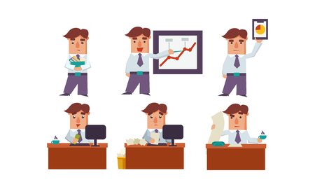 Set of office worker in different actions. Businessman in formal clothes. Clerk at workplace. Cartoon character of employee. Colorful vector illustrations in flat style isolated on white background.