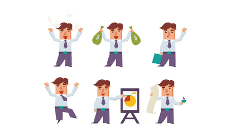 Set of happy office worker in different actions. Successful businessman. Cartoon character of bank manager. Young man in formal clothes. Colorful flat vector illustrations isolated on white background Illustration