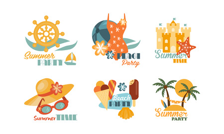 Flat vector set of colorful summer labels. Beach vacation theme. Elements for promo pasty flyer or postcard