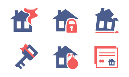 Flat vector set of home insurance service icons. Property protection theme. Elements for advertising brochure or poster