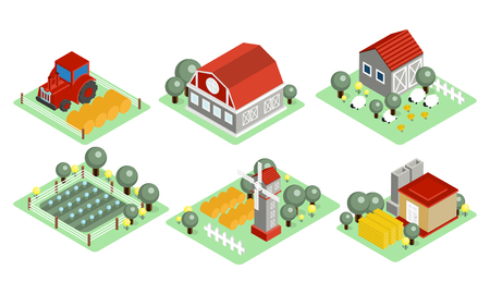 Set of isometric farm icons. Wooden barns, tractor, field with harvest, grazing sheep, windmill. Graphic elements for mobile game. 3D style illustrations. Colorful vector isolated on white background. Illustration