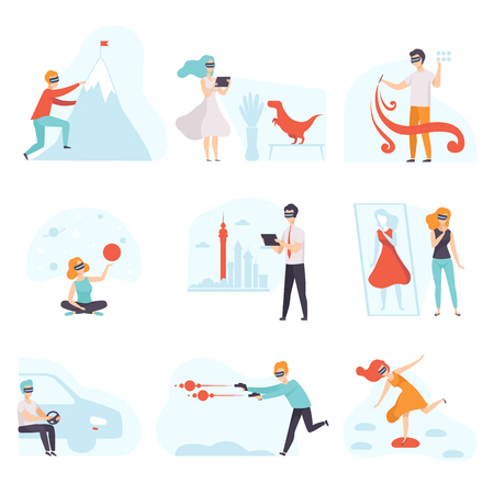 People in virtual reality digital glasses set, young man and woman using optical device for real visualisation and simulation vector Illustration on a white background Vektoros illusztráció